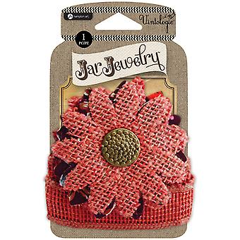 Embellished Burlap Flower W/Tie-Red JJ0058