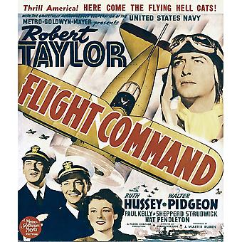 Flight Command Bottom Left From Left Walter Pidgeon Robert Taylor Ruth Hussey Top Right Robert Taylor On Window Card 1940 Movie Poster Masterprint