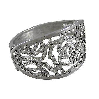 Rhinestone Encrusted Open Work Flower Hinged Bracelet