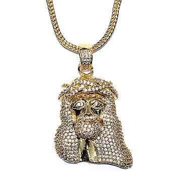 18k Gold Plated 1.5 inch CZ Mini Jesus Piece with 32 inch Franco Chain