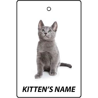 Personalised Russian Blue Kitten Car Air Freshener
