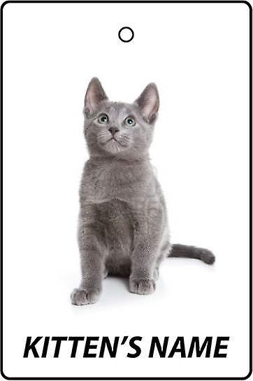 Personalised Russian Blue Kitten Car Air Freshener