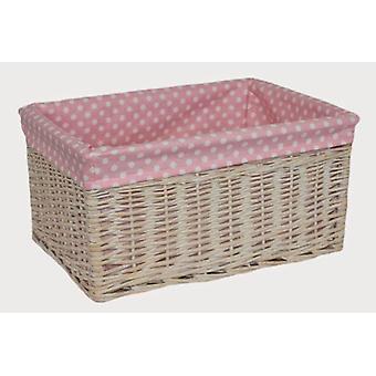 Extra Large Pink Spotty Lined Storage Basket
