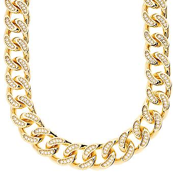 Iced out bling micro pave curb chain - CZ CUBAN 15 mm gold