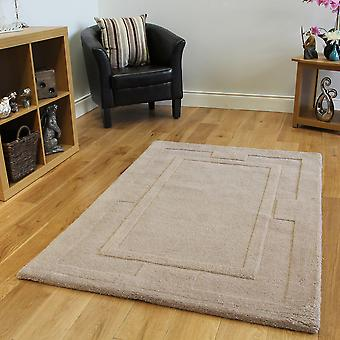 Beige Luxurious Wool Rug Elements