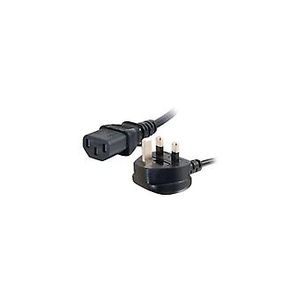 C2g Universal Power Cord power cable-BS 1363 (male) to IEC 60320 C13 (m)-5 m-molded-black