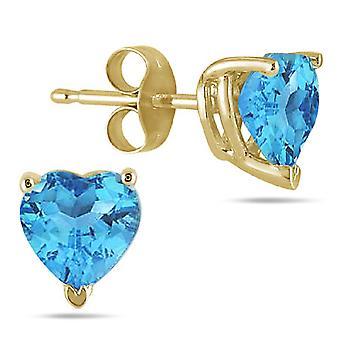 Ægte hjerte-form blå Topaz 4mm øreringe, 14K gul guld