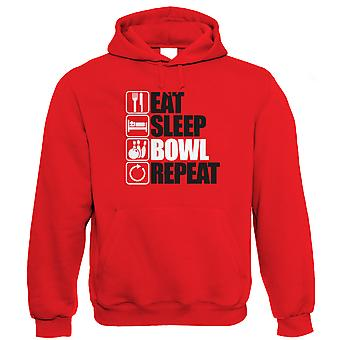 Jeść snu miska Powtórz 10 Pin Bowling Bluza z kapturem (od S do 5XL)