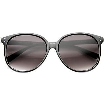 Retro P3 Round Metal Rivet Horn Rimmed Sunglasses