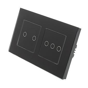 I LumoS Black Glass Double Frame 5 Gang 1 Way WIFI/4G Remote Touch LED Light Switch Black Insert