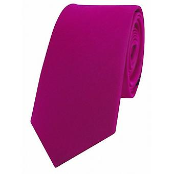 David Van Hagen Luxury Thin Satin Silk Tie - Fuchsia