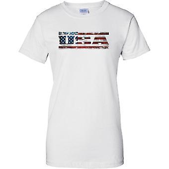 Estados Unidos Grunge país nombre bandera efecto - estrellas y rayas - señoras T Shirt