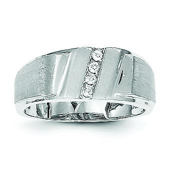 Sterling Silver Polished Open back Rhodium-plated Rhodium Plated Diamond Mens Ring - Ring Size: 9 to 11