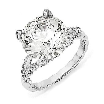 Sterling Silver Rhodium-plated Fancy Cubic Zirconia Ring - Ring Size: 6 to 8