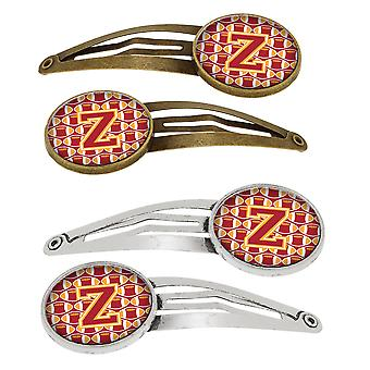 Letter Z Football Cardinal and Gold Set of 4 Barrettes Hair Clips