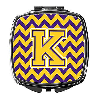 Carolines Treasures  CJ1041-KSCM Letter K Chevron Purple and Gold Compact Mirror