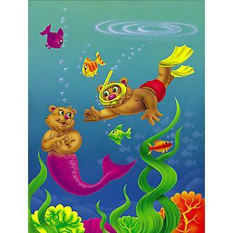 Teddy Bear Mermaid and Diver Flag Canvas House Size