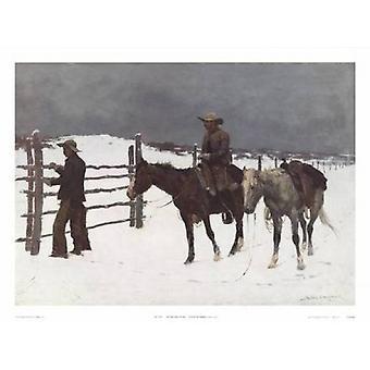 Der Fall der Cowboy Poster Print von Frederic Remington (31 x 23)