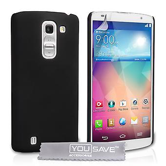 Yousave Accessories LG G Pro 2 Hard Hybrid Case - Black