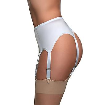 Nylon Dreams NDL8 Women's White Solid Colour Lace Garter Belt 6 Strap Suspender Belt