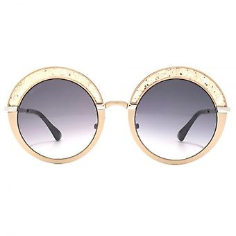Jimmy Choo Gotha Crystal Glitter Round Sunglasses In Nude Palladium