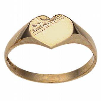 9ct Gold 9x9mm ladies engraved heart shaped Signet Ring Size J