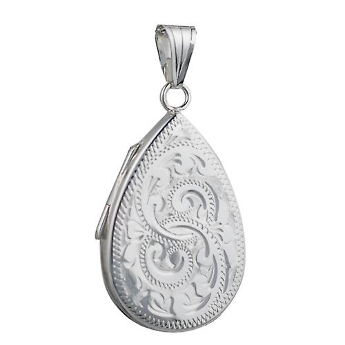 Silver 28x19mm engraved flat teardrop Locket