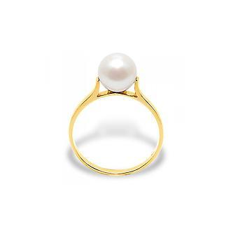 Ring Kultur Pearl White und gelb gold 375/1000