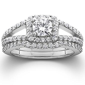 1 1 / 5ct Pave Halo Split Shank Diamond Engagement trouwring Set 14K White Gold