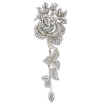 Brooches Store Oversized Silver and Crystal Rose with Leaves Brooch