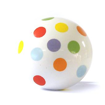 Large Colourful Spots Ceramic Cupboard Knob