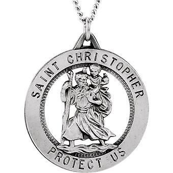 Sterling Silver runda St. Christopher Pend. Medalj 25,25-4,1 gram