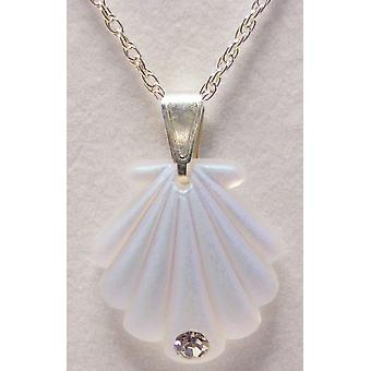 Aurora Borealis Small Shell Pendant Crystal