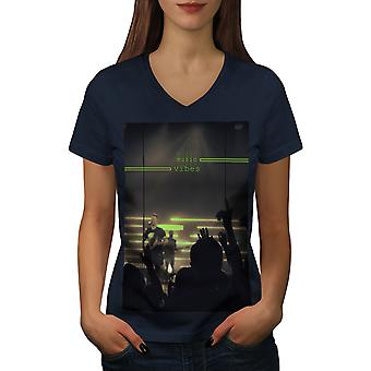 Music Vibes Concert Women NavyV-Neck T-shirt   Wellcoda