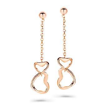 Orphelia Silver 925 Earring Rosegold Chain With Two Hearts  ZO-7179/RG