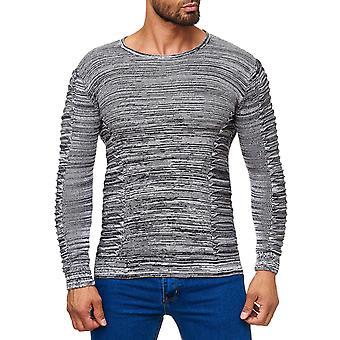 Men's O-neck long sleeve fine knit sweater