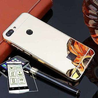 Mirror / Mirror aluminium bumper 2-piece gold + 0.3 mm H9 tempered glass for Huawei P smart