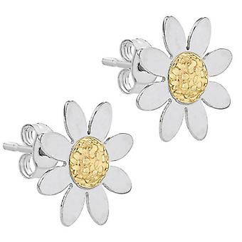 IBB London Daisy Stud Earrings - Yellow Gold/Silver