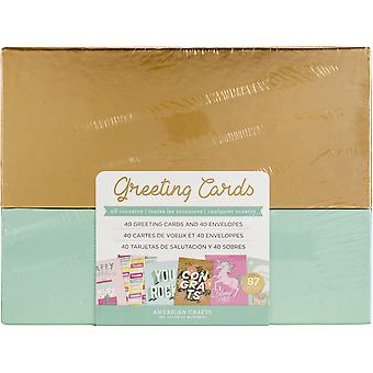 American Crafts Greeting Cards W/Envelopes 40/Box-All Occasions W/Gold Foil