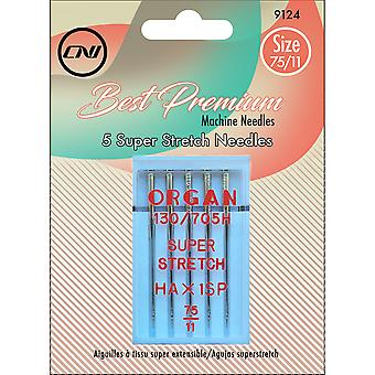Super Stretch Needles 5/Pkg-Size 75/9