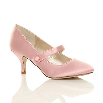 Ajvani womens low mid heel mary jane strap work party court shoes pumps