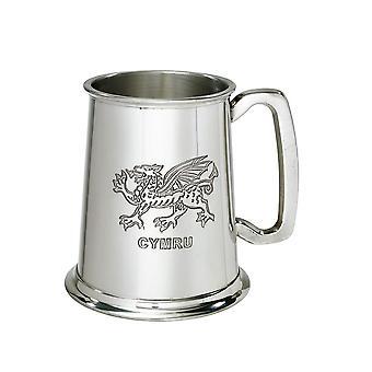 Welsh Dragon 1 Pint Pewter Tankard