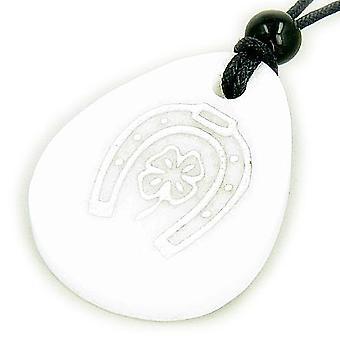 Lucky Horse Shoe Clover Wish Stone White Jade Gemstone Necklace
