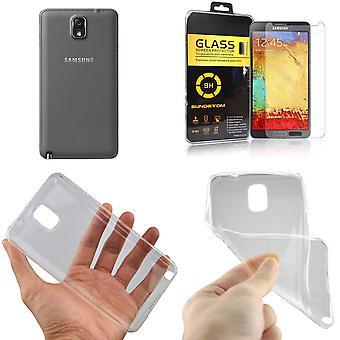 Samsung Galaxy Note 3 Handy Hülle Schutz Tasche Ultra Dünn nur 0,3 mm Case Cover Schutzhülle Schale + Panzer Glas Echtglas Display Schutz