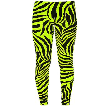 Childrens dyr Leopard Bright Neon fluorescerende Zebra Print Stretch Leggings