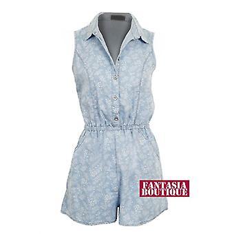 Ladies Denim Floral Print Pattern Shirt Collar Pockets Women's Playsuit