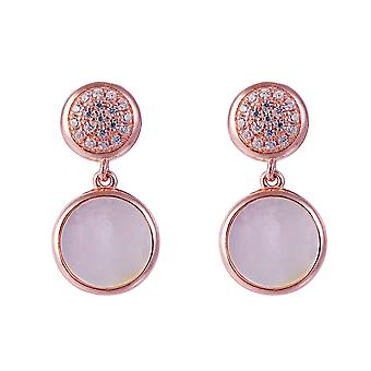 Orphelia Silver 925 Earring Rose with Mother of Pearl and Zirconium Stones - ZO-7431