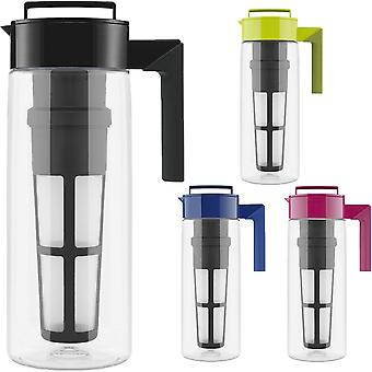 Takeya 2-Quart Tritan Plastic Flash Chill Iced Tea Maker with Mesh Tea Infuser