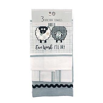 Country Club Ewe and Me Set of 3 Tea Towels