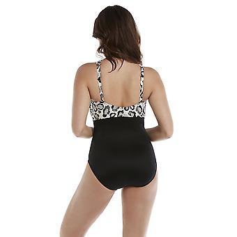 Miraclesuit 6517328 Women's Purfectly Posh Embrace Black and White Underwired Shaping Swimsuit